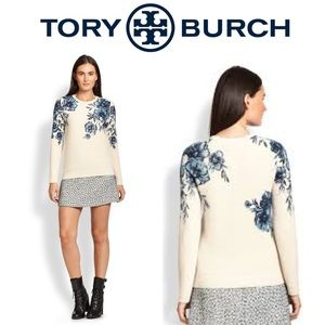 Tory Birch Natural Tia Printed Merino Wool Sweater